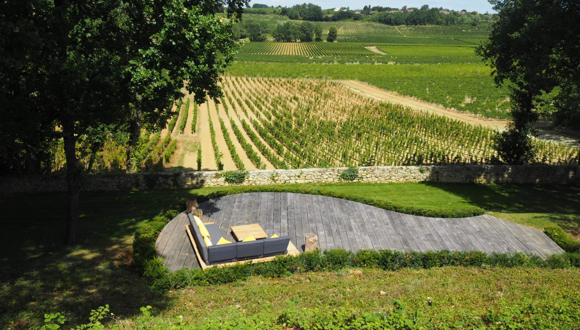 Terrace overlooking vineyards